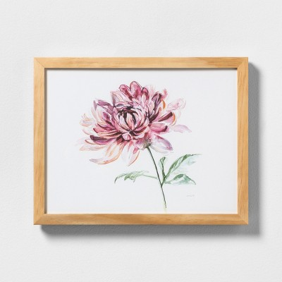 11  X 14  Pink Flower Wall Art with Natural Wood Frame - Hearth & Hand™ with Magnolia