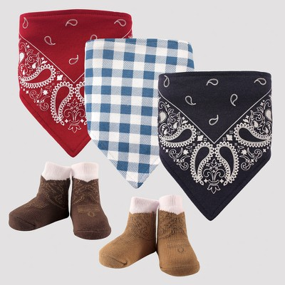 Hudson Baby Boys' 5pk Bandana Bib & Socks Set - Red 0-12M