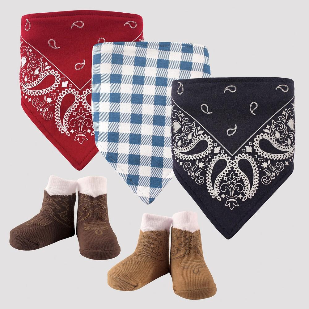 Image of Hudson Baby Boys' 5pk Bandana Bib & Socks Set - Red 0-12M, Boy's