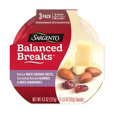 Sargento Balanced Breaks Natural White Cheddar, Sea-Salted Roasted Almonds & Dried Cranberries - 3pk/1.5oz