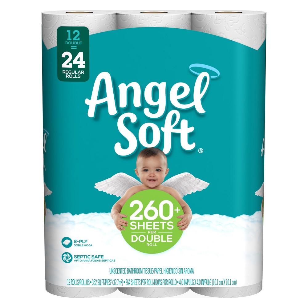 Angel Soft Toilet Paper - 12 Double Rolls, White