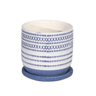 """5"""" Ceramic Planter with Saucer Blue - Sagebrook Home"""