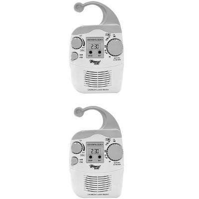 2) New Pyle PSR6 LCD Digital Hanging Waterproof AM/FM Shower Clock Radio White