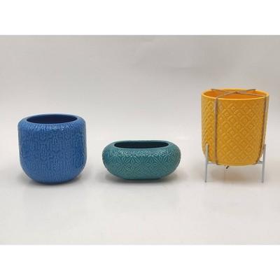 3ct Dolomite Tabletop Planter Set Blue/Teal/Yellow - Bullseye's Playground™