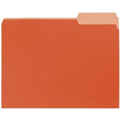 School Smart Two-Tone Reversible File Folders, 1/3 Tab Cuts, Orange, pk of 100
