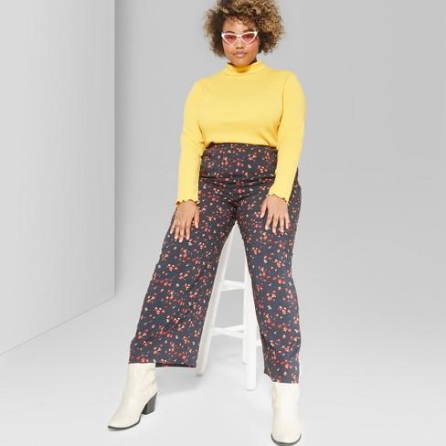 5ba59f84a7d4 Women's Plus Size Floral Print Wide Leg Palazzo Pants - Wild Fable™ Black :  Target