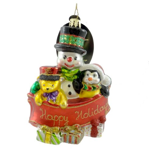 Christopher Radko Banner Buddies Ornament Snowman Penguin - image 1 of 2