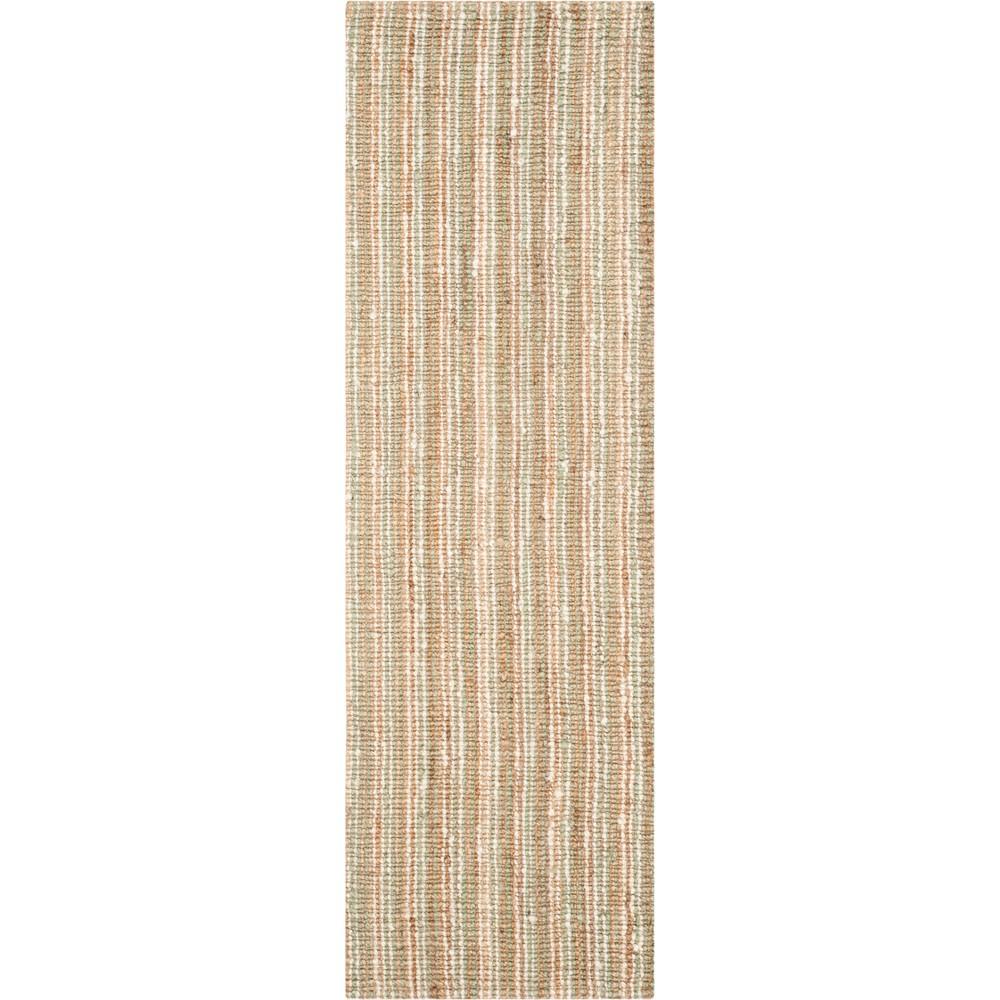 2'6X10' Stripe Woven Runner Sage/Natural (Green/Natural) - Safavieh