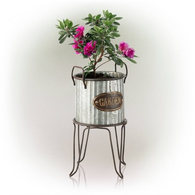 """Alpine 20"""" Outdoor Metal Tin Flower Planter with Stand Silver"""