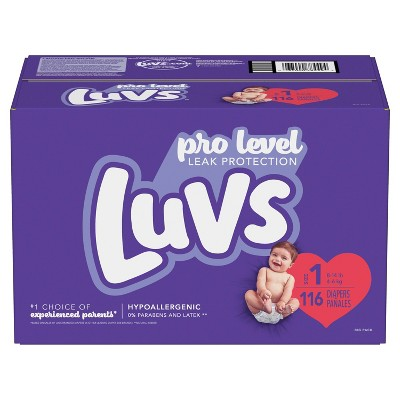 Luvs Pro Level Leak Protection Diapers Big Pack - Size 1 - 116ct