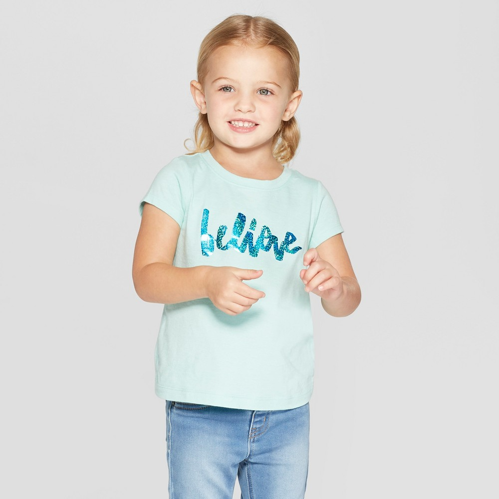 Toddler Girls' Short Sleeve 'Believe' Graphic T-Shirt - Cat & Jack Aqua 2T, Green