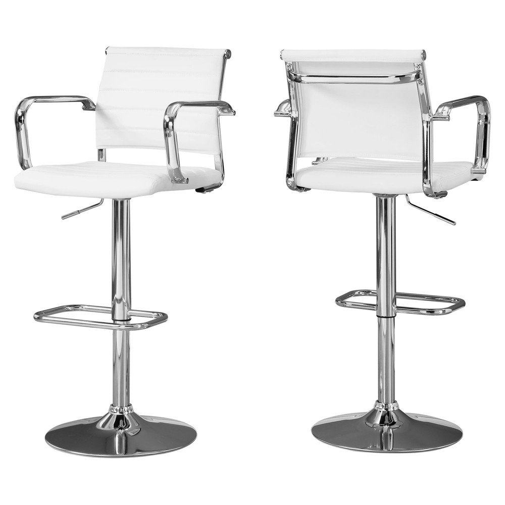 2pc Barstool Chrome Metal Hydraulic Lift White - EveryRoom