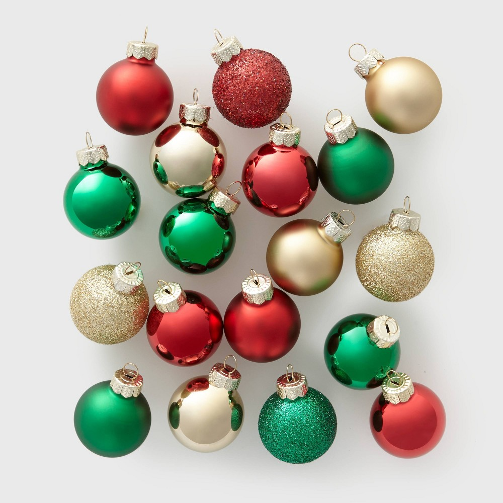 Image of 18ct Mini Glass Round Christmas Ornament Gold Green and Red - Wondershop , Gold Red Green