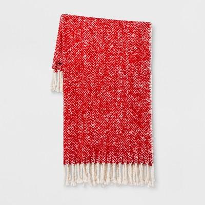 Herringbone Faux Mohair Throw Blanket Red - Threshold™