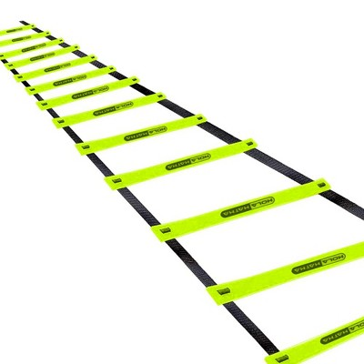 HolaHatha 20 Foot 12 Rung Adjustable Portable Sports Agility Speed Fitness Training Ladder Equipment for Football, Baseball, and Soccer, Black/Yellow