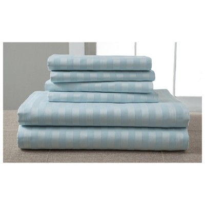 Luxury Estate Woven Stripe 1200 Thread Count Cotton Sheet Set (California King)Spa Blue - Elite Home Products