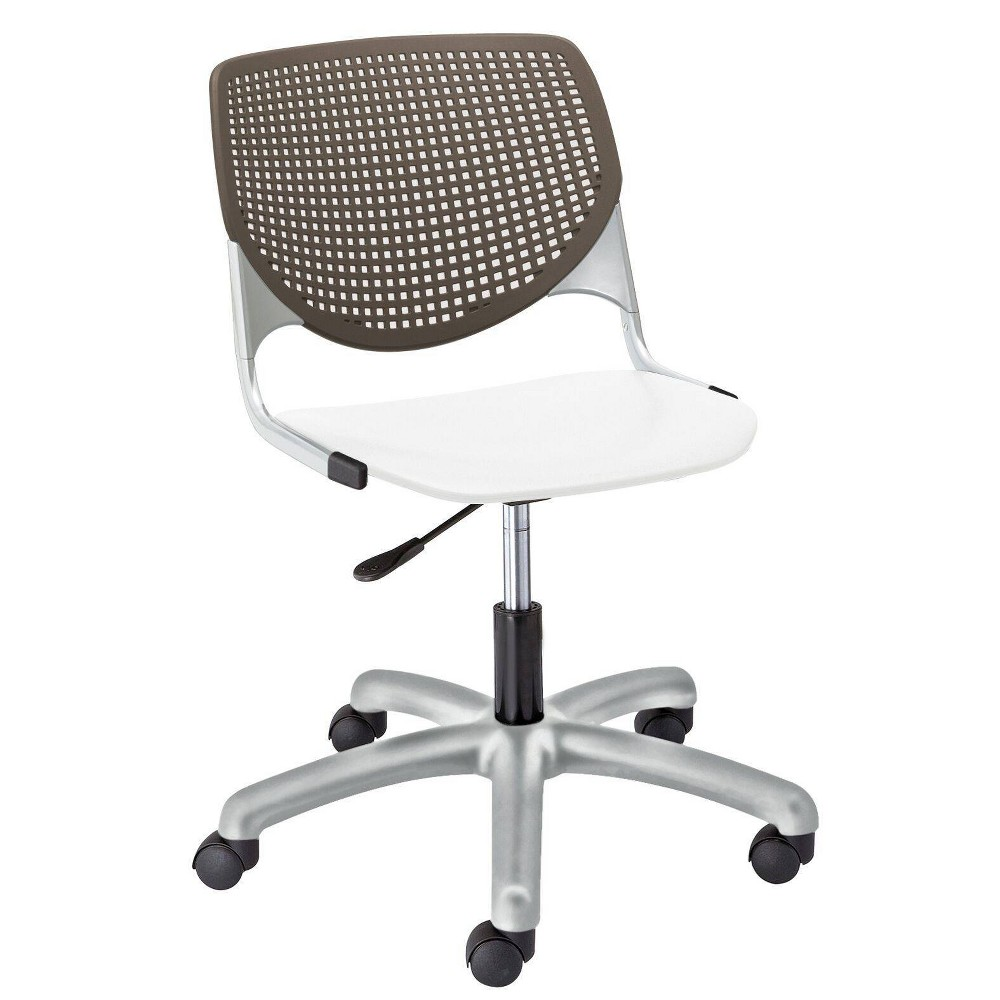 This attractive and comfortable computer chair is the perfect fit for almost any application! Great as a task chair, training / conference rooms, collaborative areas or any multi-use application. The ergonomic perforated back allows for enhanced circulation, while the radius conforms to your back for maximum comfort. The ergonomic office chair offers a contoured extra-wide seat pan to provide comfort and accommodate all sizes. The seat is supported by a steel frame with secures to the base for maximum durability. The gas lift allows for seat height adjustments from 15.5\\\
