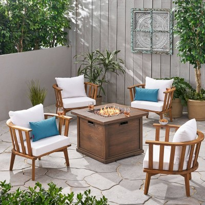 Walson 5pc Acacia Wood Club Chairs and Fire Pit Set Teak and Brown - Christopher Knight Home