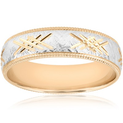 Pompeii3 10k Gold Men's Comfort-Fit Wedding 6MM Hand Etched Two Tone Band
