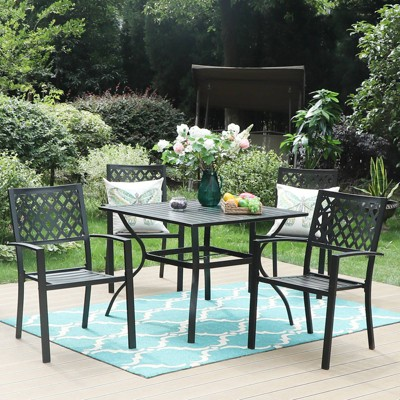 """5pc Patio Set with  37"""" Square Metal Table with Umbrella Hole & Arm Chairs - Captiva Designs"""