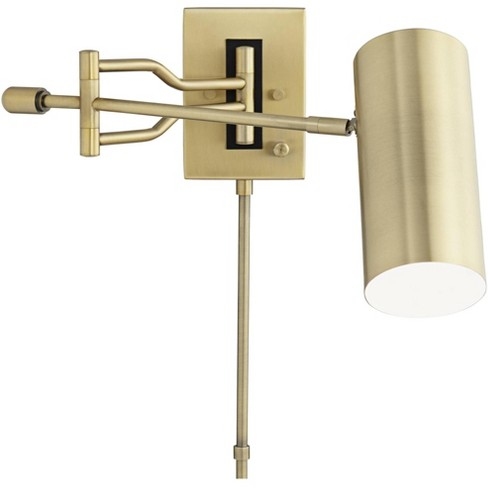 360 Lighting Modern Swing Arm Wall Lamp Warm Brass Plug-In Light Fixture Adjustable Cylinder Down Shade Bedroom Bedside Reading - image 1 of 4