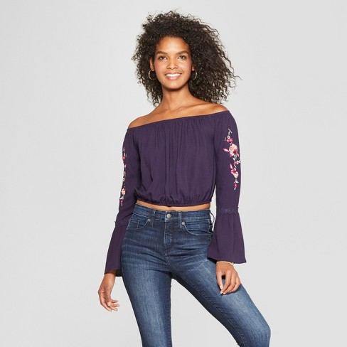 7d873a76d00cb9 Women s Long Sleeve Embroidered Sleeve Off the Shoulder Top - Xhilaration™