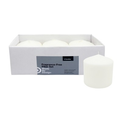 "3"" x 3"" 3pk Unscented Pillar Candle Set - Made By Design™"