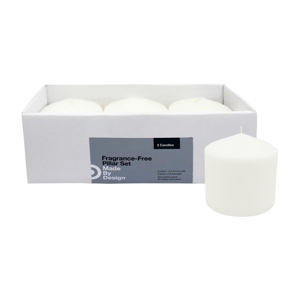 3 x 3 3pk Unscented Pillar Candle Set White - Made By Design Promos