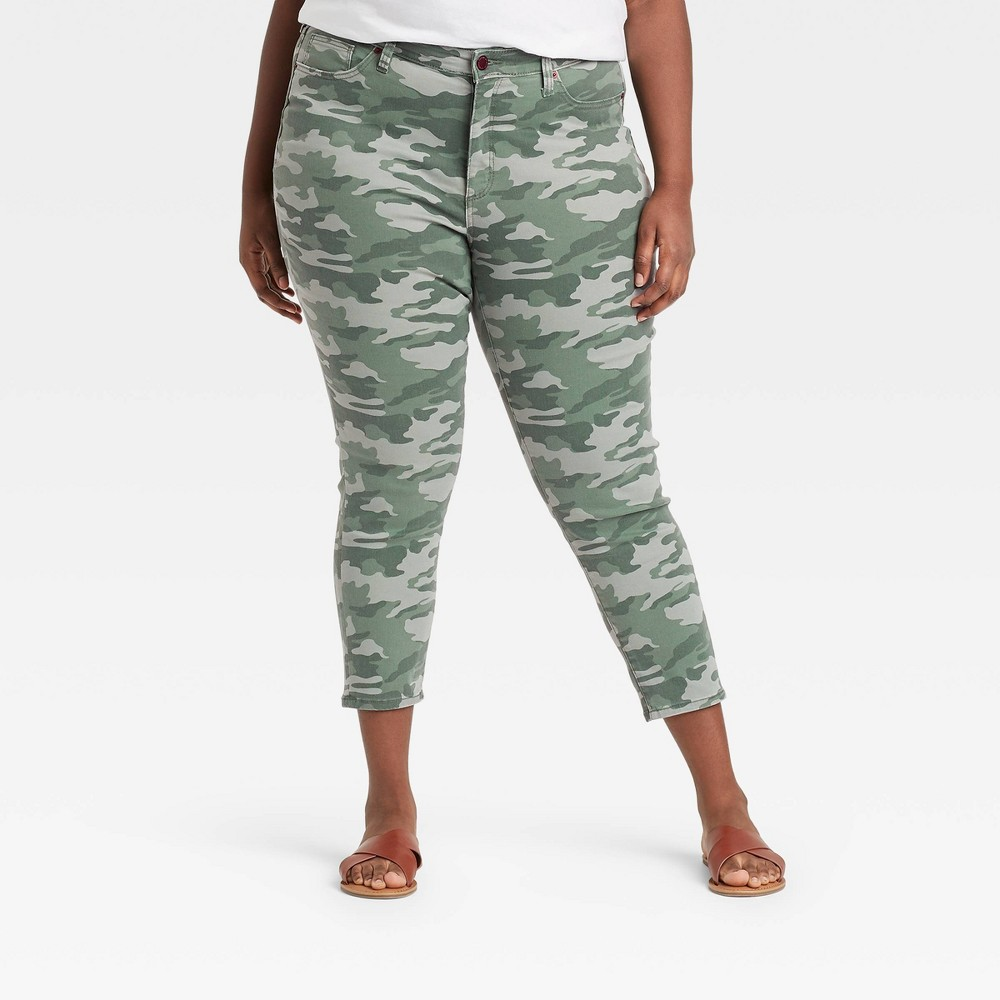 Women 39 S Plus Size High Rise Skinny Cropped Jeans Universal Thread 8482 Camo 24w