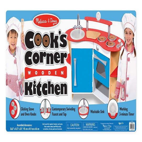 Melissa & Doug Cook's Corner Wooden Kitchen Pretend Play Set image number null