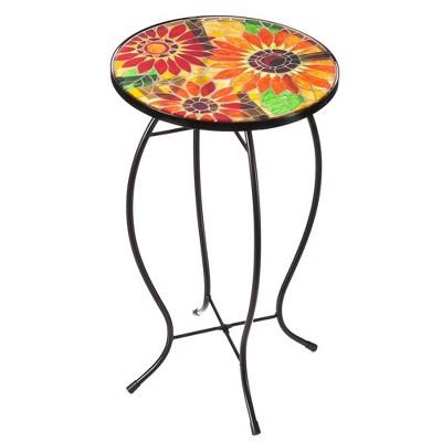 Evergreen Sunflower Mosaic Glass Side Table