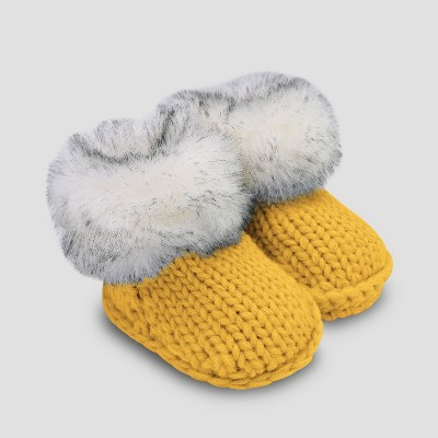 Baby Faux Fur Bootie Slippers - Cat & Jack™ Yellow 0-6M