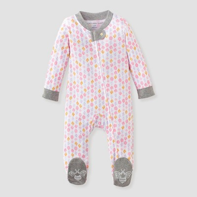 Burt's Bees Baby® Baby Girls' Organic Cotton Medallion Sleep N' Play - White 6-9M