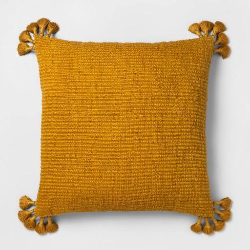 Euro Chunky Woven Tassel Throw Pillow Saffron - Opalhouse™ - image 1 of 3