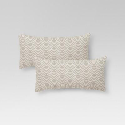 2-Piece Outdoor Lumbar Pillow Set - Tan Scallop - Threshold™
