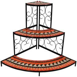 "40"" Steel 3-Tier Step Mosaic Tiled Outdoor Corner Display Shelf - Sunnydaze Decor"