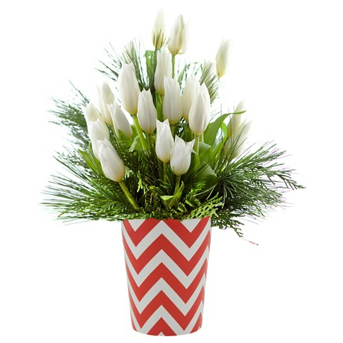 Kabloom winter white tulips fresh flower arrangement with red about this item mightylinksfo