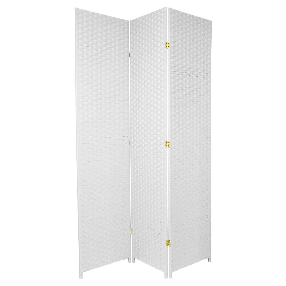 7 ft. Tall Woven Fiber Room Divider - White (3 Panels)