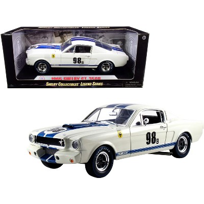 """1965 Ford Mustang Shelby GT350R #98B """"Terlingua Racing Team"""" White w/Blue Stripes 1/18 Diecast Model Car by Shelby Collectibles"""