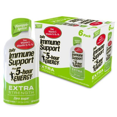 5 Hour Energy Extra Strength Daily Immune Support Shot - Pineapple Apricot - 6pk
