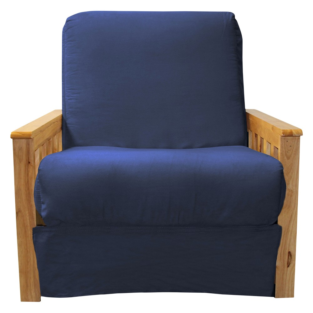 Mission Perfect Convertible Futon Sofa Sleeper - Natural Wood Finish - Epic Furnishings, Blue