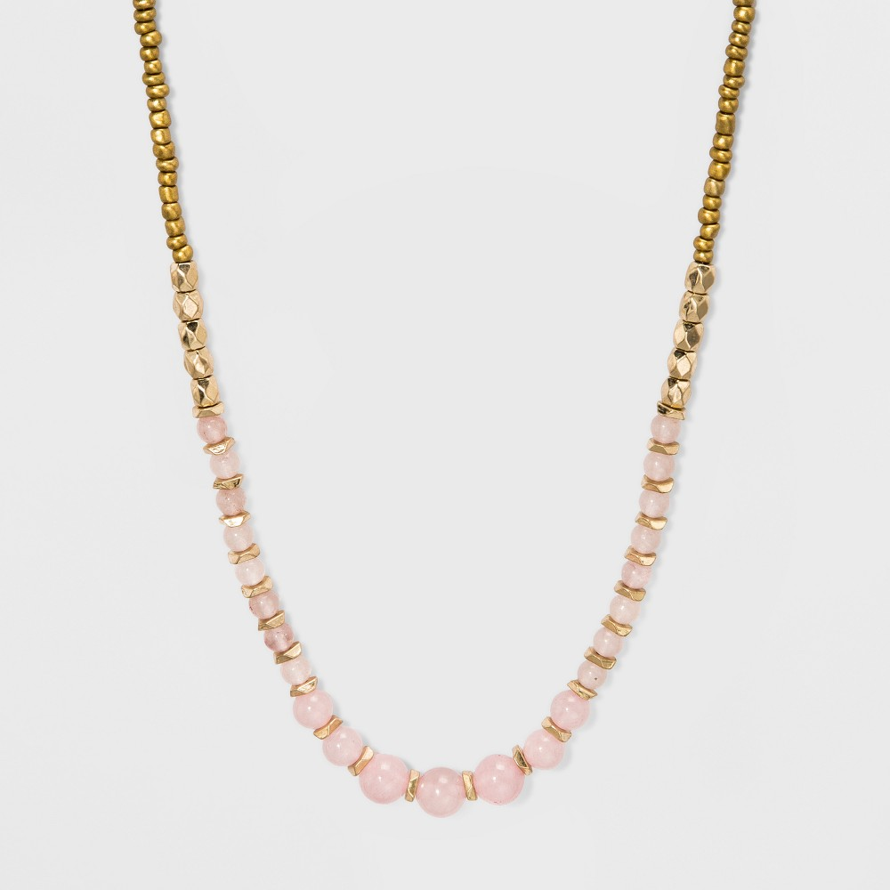 Beaded Semi-Precious Long Necklace - Universal Thread Rose Quartz