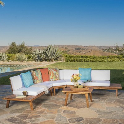 Hillcrest 4pc Acacia V-Shaped Outdoor Patio Sectional Sofa Set - Natural/White - Christopher Knight Home