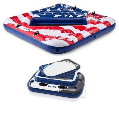Intex 2 Person Party Island Pool Float w/ 72 Can Beverage Cooler Float With Lid