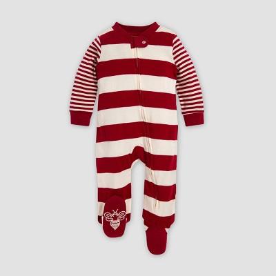 Burt's Bees Baby® Baby Organic Cotton Rugby Mixed Stripe Sleep N' Play Pajama Jumpsuit - Red Newborn