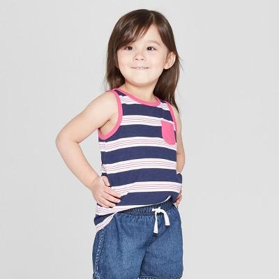 Toddler Girls' Striped Tank Top - Cat & Jack™ Navy 5T