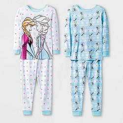 Toddler Girls' 4pc Frozen 100% Cotton Pajama Set - White/Blue