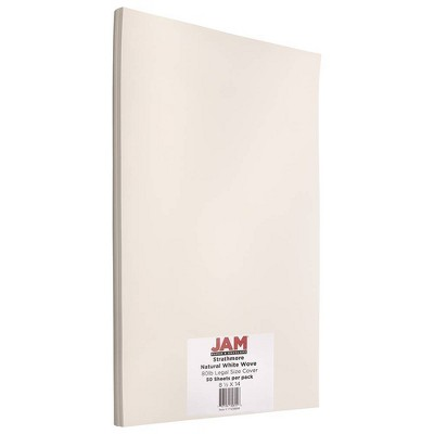 JAM Paper Legal 80lb Cardstock - 8.5 x 14 Coverstock - Natural White Wove Strathmore - 50 Sheets