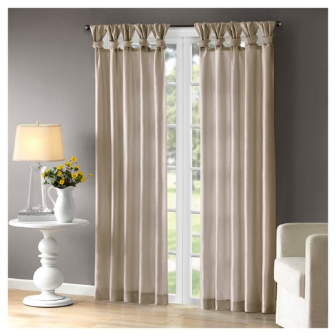 Lillian Twisted Tab Light Filtering Lined Curtain Panel - image 1 of 3