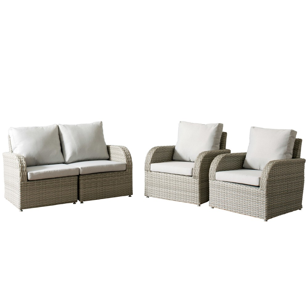 Brisbane 4pc Resin Wicker Loveseat and Chair Patio Set with Weather Resistant Fabric - Gray - CorLiving